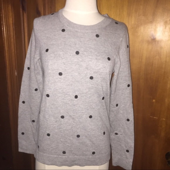 J.crew grey polka dot sweater small Jcrew